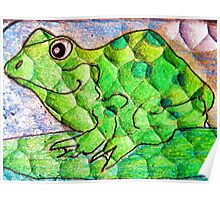 Frog funny textured colorful frog Poster