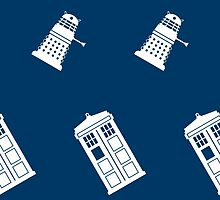 TARDIS and Dalek infinity pattern by imjustmike