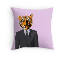 Tiger Businessman Throw Pillow