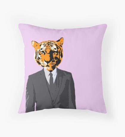 Tiger Businessman Throw Pillow