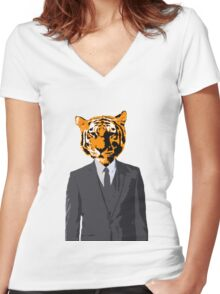Tiger Businessman Women's Fitted V-Neck T-Shirt