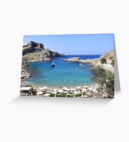 St.Paul's Bay, Lindos Greeting Card