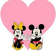 Mickey & Minnie - Pink Heart by AngieBee