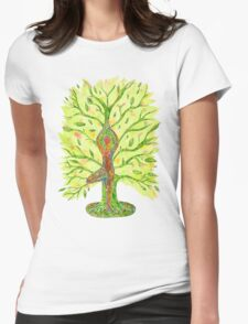 Yoga - Tree Pose Womens Fitted T-Shirt