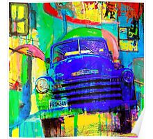 Old Blue Truck Abstract Poster