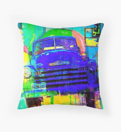 Old Blue Truck Abstract Throw Pillow