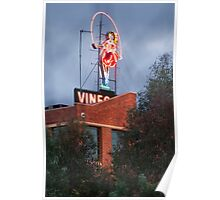 Skipping Girl Neon Sign Red Brick Warehouse Poster