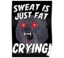 Funny Gym Sweat Fat Crying Motivational Sports Poster