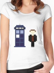 Pixel 9th Doctor and TARDIS Women's Fitted Scoop T-Shirt