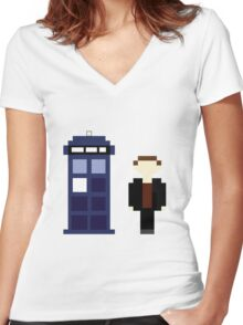 Pixel 9th Doctor and TARDIS Women's Fitted V-Neck T-Shirt