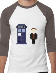 Pixel 9th Doctor and TARDIS Men's Baseball ¾ T-Shirt