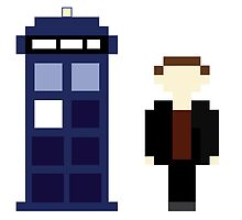 Pixel 9th Doctor and TARDIS by ObscureM