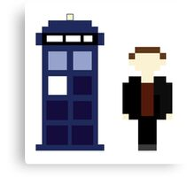 Pixel 9th Doctor and TARDIS Canvas Print