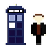 Pixel 9th Doctor and TARDIS Photographic Print