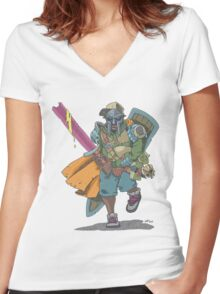 Dungeons & Dragons & MF DOOM Women's Fitted V-Neck T-Shirt
