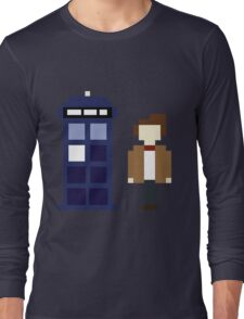 Pixel 11th Doctor and TARDIS Long Sleeve T-Shirt