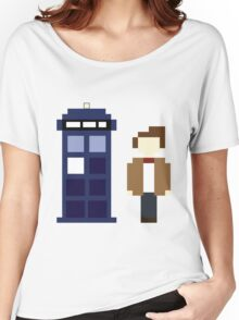 Pixel 11th Doctor and TARDIS Women's Relaxed Fit T-Shirt