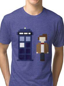 Pixel 11th Doctor and TARDIS Tri-blend T-Shirt