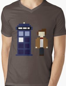 Pixel 11th Doctor and TARDIS Mens V-Neck T-Shirt