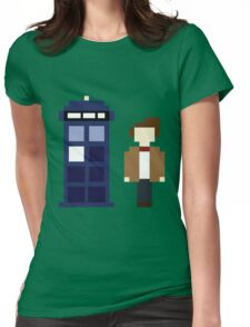 Pixel 11th Doctor and TARDIS Womens Fitted T-Shirt