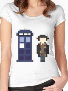 Pixel 4th Doctor and TARDIS Women's Fitted Scoop T-Shirt