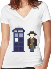 Pixel 4th Doctor and TARDIS Women's Fitted V-Neck T-Shirt