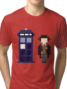 Pixel 4th Doctor and TARDIS Tri-blend T-Shirt