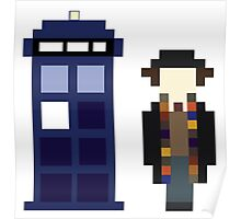 Pixel 4th Doctor and TARDIS Poster