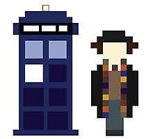 Pixel 4th Doctor and TARDIS Photographic Print