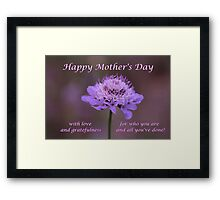 Purple Flower Mother Day's Card/mug/tote/cushion/case/pouch/skin Framed Print