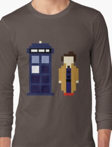 Pixel 10th Doctor and TARDIS Long Sleeve T-Shirt