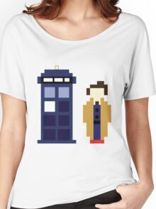Pixel 10th Doctor and TARDIS Women's Relaxed Fit T-Shirt
