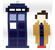 Pixel 10th Doctor and TARDIS Poster