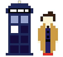 Pixel 10th Doctor and TARDIS Photographic Print