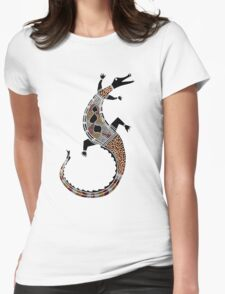 Aboriginal Art - Crocodile Authentic Designs Womens Fitted T-Shirt