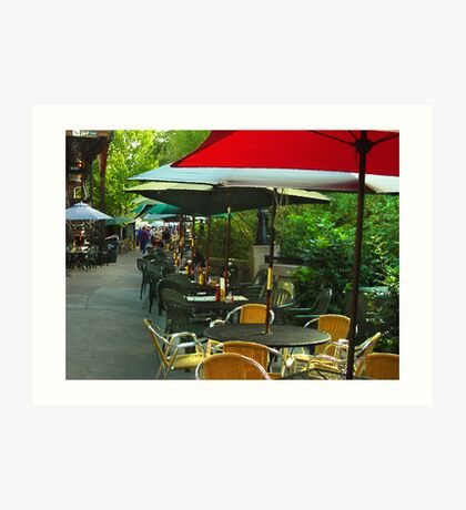 Dining Under The Umbrellas Art Print