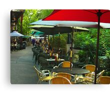 Dining Under The Umbrellas Canvas Print
