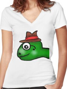 Mr. Turtle  Women's Fitted V-Neck T-Shirt