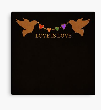 Rainbow Pride - birds with heart banner - love is love - CELEBRATE! Canvas Print