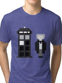 Pixel 1st Doctor and TARDIS Tri-blend T-Shirt