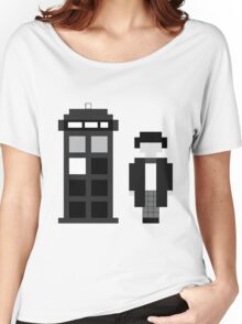 Pixel 2nd Doctor and TARDIS Women's Relaxed Fit T-Shirt