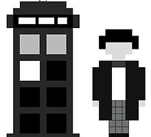 Pixel 2nd Doctor and TARDIS by ObscureM