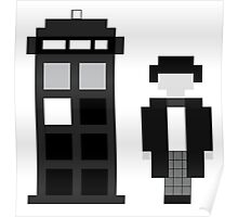 Pixel 2nd Doctor and TARDIS Poster