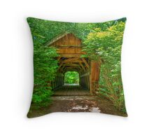 Covered Footbridge Throw Pillow