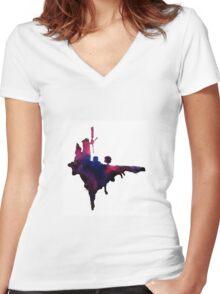 Gorillaz Windmill Island Women's Fitted V-Neck T-Shirt