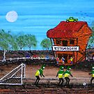 """Ned Kelly Gang World Cup Fever"" Original Acrylic Australian Painting; SOLD by EJCairns"