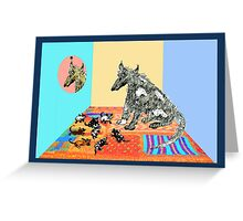 Dog Family, sitting on knitted  rug. Greeting Card