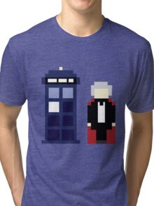 Pixel 3rd Doctor and TARDIS Tri-blend T-Shirt