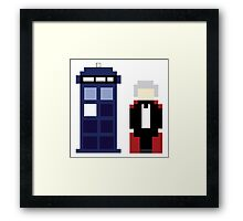 Pixel 3rd Doctor and TARDIS Framed Print