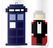 Pixel 3rd Doctor and TARDIS Poster